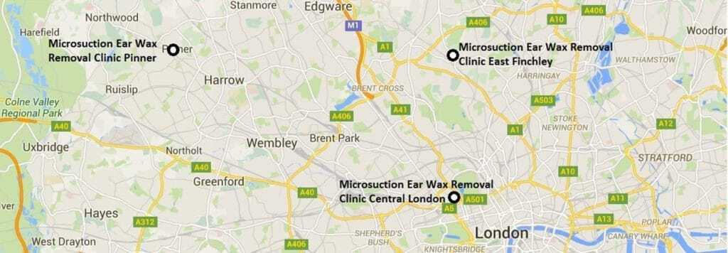 Map of Ear Wax Removal Micro Suction London Clinic Locations. Information On Where To Get Microsuction In London And Details Of Where To Get Ear Wax Removal London